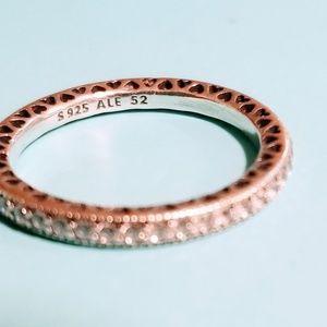 Pandora clash silver stone ring, size 52!